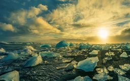 Icebergs floating in Jokulsarlon at sunset golden hour with glac royalty free stock photo
