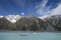 Icebergs floating in Tasman Lake in New Zealand Royalty Free Stock Photo