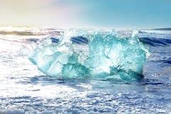 Icebergs form vatnajokull glacier. Blue icebergs at the beach Royalty Free Stock Photos