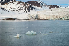 Icebergs in front of the glacier, Svalbard, Arctic Stock Photography