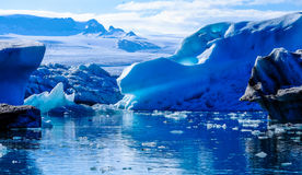 Icebergs on glacial waterfront
