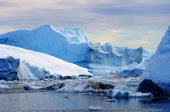Icebergs in Greenland 22. Drifting icebergs in the bay of Ilulissat, Greenland stock photo