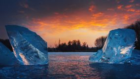 Icebergs from HUngary. A cold and frosyt sunset from Hungary Royalty Free Stock Image