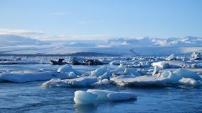 Icebergs at ice lake. Ice and Snow Winter Nature Landscape. Ice Lagoon stock footage