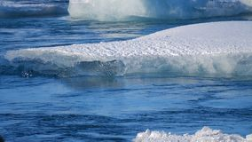 Icebergs at ice lake. Ice and Snow Winter Nature Landscape. Ice Lagoon. Icebergs at ice lake. Ice Winter Nature Landscape. Global Warming stock video footage