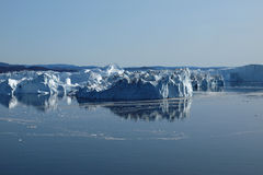 Icebergs Ilulissat south coast, Greenland. Icebergs at the mouth of Ilulissat Icefjord Royalty Free Stock Photos