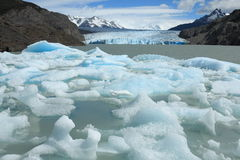 Icebergs interrompant du gris de glacier, Torres del Paine, Chili Photo stock
