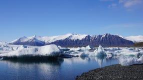 Icebergs in Jökulsarlon glacier lake. Icebergs floating in Jökulsarlon glacier lake in Iceland royalty free stock images