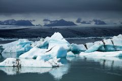 Icebergs on Jökulsárlón glacier lagoon, Iceland Stock Photos