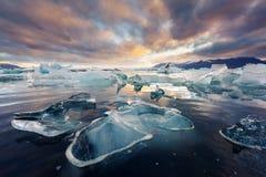 Icebergs in Jokulsarlon glacial lagoon stock photos