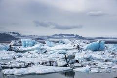 Icebergs in Jokulsarlon lagoon. Iceland royalty free stock photo