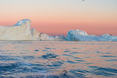 Icebergs in the midnight sun, Ilulissat, Greenland. Huge stranded icebergs at the mouth of the Icejord near Ilulissat at midnight, Greenland Stock Photos