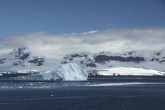 Icebergs and Mountains in Antarctica stock photography