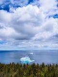 Icebergs in Newfoundland. Aerial view of icebergs on ocean near St. John`s during iceberg season, Newfoundland, Canada, North America royalty free stock photos