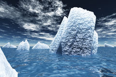 Icebergs in ocean Royalty Free Stock Images