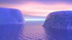 Icebergs por salida del sol stock de ilustración