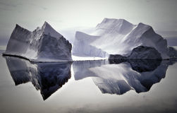 Icebergs Reflected in Still Waters, Antarctica. The stark, quiet beauty of icebergs, reflecting on still water, south of the Antarctic Circle in Antarctica
