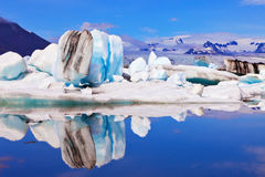 Icebergs  are reflected in water Royalty Free Stock Photo