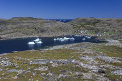 Icebergs in Sargent`s Bay, Fogo Island Stock Image
