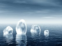 Icebergs in sea Stock Photo