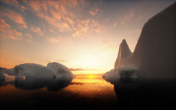 Icebergs in sunset Royalty Free Stock Images