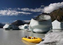 Icebergs sur un lac glaciaire Image libre de droits