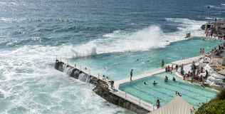 Icebergs Swimming club Bondi Beach. Sydeny australia. With waves crashing over the side during the summer. Copyspace Stock Photos
