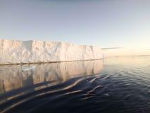 Icebergs tabulaires dans le bruit antarctique Images stock