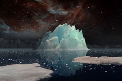 Icebergs under the Milky way. Elements of this image furnished by NASA. 3D Illustration Stock Images