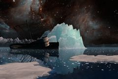Icebergs under the Milky way. Elements of this image furnished by NASA. 3D Illustration Royalty Free Stock Image