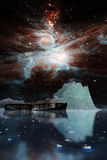 Icebergs under the Milky way. Elements of this image furnished by NASA. 3D Illustration Royalty Free Stock Photography