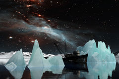 Icebergs under the Milky way. Elements of this image furnished by NASA. 3D Illustration Royalty Free Stock Photo
