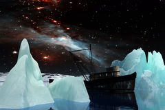 Icebergs under the Milky way. Elements of this image furnished by NASA. 3D Illustration Stock Photo