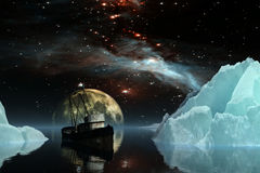 Icebergs under the Milky way. Elements of this image furnished by NASA. 3D Illustration Stock Photos