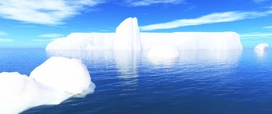 Icebergs in water and blue sky 01. White icebergs in blue water royalty free illustration