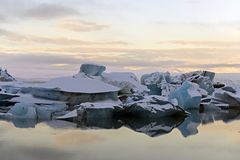 Icebergs at water in Jokulsarlon lagoon, Iceland. Glacier lagoon royalty free stock photo