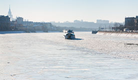 Iceboat on Moscow river in sunny winter day Stock Photography
