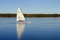 Iceboat on perfect black ice Royalty Free Stock Images
