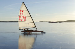 Iceboat in Stockholm archipelago Royalty Free Stock Photo