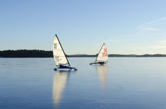 Iceboats in Stockholm archipelago Royalty Free Stock Photos