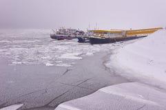 Icebraker ships on river Danube. Royalty Free Stock Image