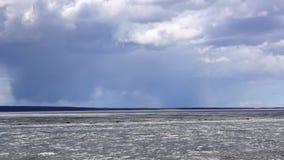 Icebreak in lake harbour in spring stock video