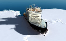 Icebreaker. Ship on the ice in the sea Royalty Free Stock Photos