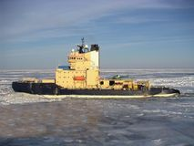 Icebreaker. Oden in a sea of ice Royalty Free Stock Photo