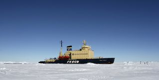 Icebreaker on Antarctica Stock Photo