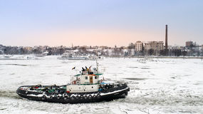 Icebreaker break the ice on the Danube Royalty Free Stock Photos