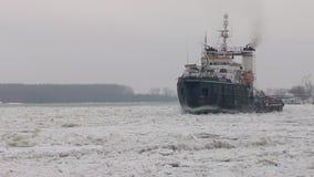 Icebreaker on the Danube stock video footage