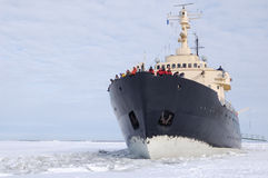 Icebreaker on the frozen sea. Icebreaker on the snow covered frozen sea Royalty Free Stock Images