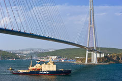 Icebreaker Kapitan Khlebnikov  is moving under the bridge. Eastern Bosphorus Strait. East (Japan) Sea. 22.05.2015 Stock Image