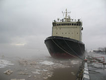 Icebreaker moored on the bay. Nose of ship Royalty Free Stock Images